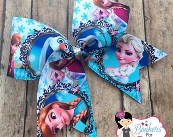 frozen cheer bow, frozen bow, frozen hair bow, Anna hair bow, Elsa hair bow, Olaf hair bow