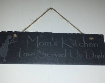 Mom's Kitchen Etched Slate Plaque
