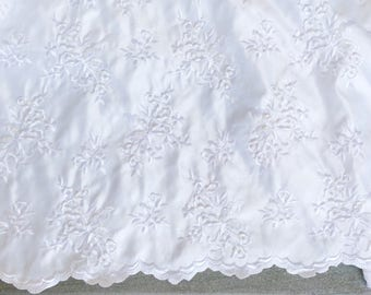 White satin wedding Fabric by the Yard, Designer Lace fabric, Beaded white fabric for wedding dress, Decorative Pillow fabric, Table Runner