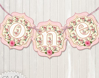 ONEDERLAND BIRTHDAY BANNER - Shabby Chic, Vintage Chic, 1st Birthday Banner , Alice in Wonderland, Princess Birthday, High Chair Banner, diy