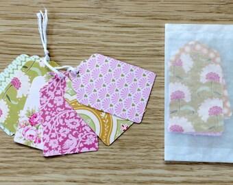 Etiquette verte et rose - Motif fleurs - Etiquette américaine - Etiquette cadeau - Pour offrir - Marque-page - Marque place - Cadeau - fleur