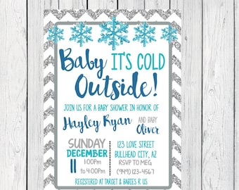 Baby It's Cold Outside Baby Shower Invite-Silver Glitter***Digital File***  (Baby-ColdSilver)