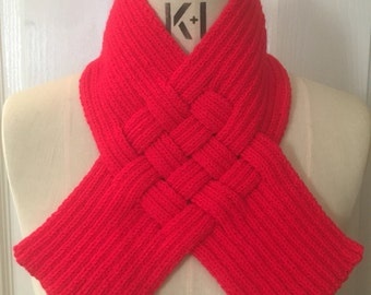 Bright Red Woven Rib Scarf