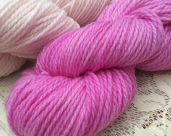 Superwash Merino Aran / Heavy Worsted Knitting Yarn / Knitting Wool Indie Dyed Pinks