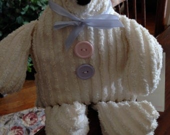 VINTAGE CHENILLE BEAR, Woof and Poof Bear, Chenille Bear, White Chenille Bear, Chenille Teddy Bear, Musical Teddy Bear, Musical Bear