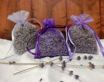 Dried Lavender Bud Sachets - Set of Three