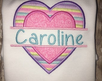 Split Heart Valentine's Day Personalized Embroidered Shirt T-Shirt Girl! Sizes  2 ,3, 4, 5, 6, 7, 8 Glitter Pastel