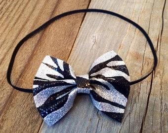 Glitter zebra baby bow headband, zebra baby headband, zebra bow, zebra headband, baby headbands