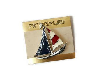 Vintage Enamel Sailboat Brooch Red White Blue & Silver Tone Patriotic Nautical Boat Pin by Principles 1980's New Old Stock On Card