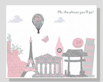 Oh, the places you'll go, Dr Seuss,baby girl nursery art print,hot air balloon,pink,gray,travel nursery