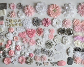 DIY light pink, grey, and white headband kit,  headband kit, baby headband kit, Headband Flower kit,Wholesale headband kit