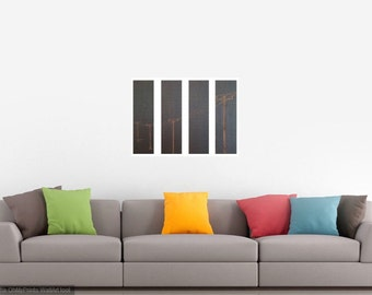 "Telephone Pole 4 Panel Wall Art / 18""X25"" / Bamboo"