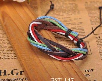 Leather and Hemp Bracelet Woven Leather Wrist Bracelet Multi-Color Braclet Adjustable   BST-147
