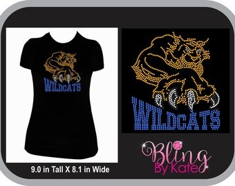 Wildcats - School Spirit Wear - Rhinestone T Shirt - Wildcats Shirt - Customized with Team Colors