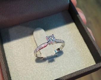Diamond Engagement Ring, 0.5 Carat Diamond Ring, White Gold Ring, Engagement Gift, Diamond Gold Ring, Engagement Accessory Free Shipping