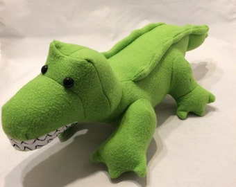 Green fleece stuffed crocodile plushie