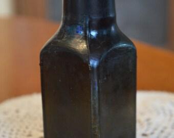 Antique Dark Olive Green Medicine Bottle