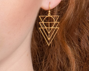 Gold Geometric Earrings, Triangle earrings, Triangular Dainty earrings, Indie Jewelry, hand crafted jewelry, Tribal earrings, gift for her