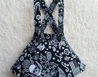 Made-To-Order - Minifee BJD Slim MSD Waist-High Suspender Skirt - Biker/Skulls