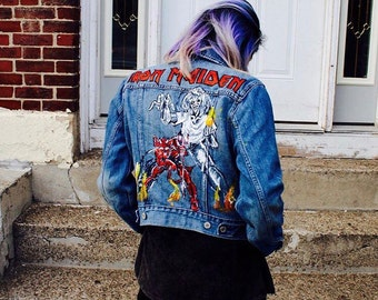 One of a Kind Hand Painted Customized Heavy Metal Denim Jacket