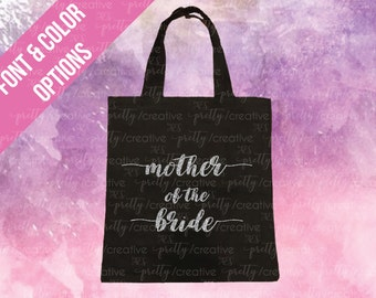 Mother of the Bride Black Soft Canvas Tote -  Silver or Gold Glitter Text
