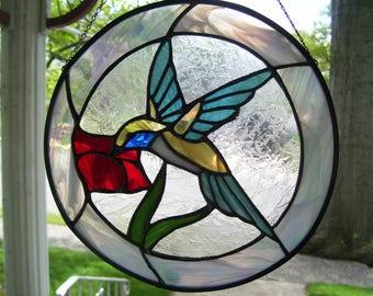 Stained Glass Blue Hummingbird Suncatcher