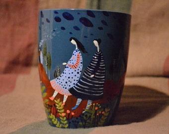 tee mug, coffi mug, ceramic mug, hand-painted mug, mug gift,cup