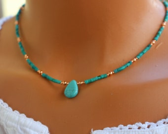 Turquoise necklace, copper and turquoise necklace, boho chic turquoise necklace, womens beaded necklace, minimalist turquoise necklace