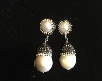 Darling freshwater pearl and Swarovski crystal earrings