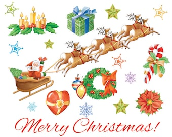 Merry Christmas Graphic Elements Clipart On Transparent Background