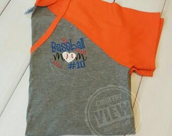 Womens Baseball Mom Raglan Shirt with number--Womens Sizes SHORT Sleeve Baseball Mom