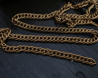 Vintage Brass Double Link Curb Chain, 3 feet