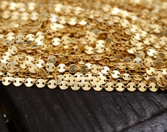 Tiny Matte Gold Coin Chain, 4mm Fancy Brass Chain