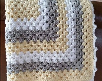 Crochet Baby Blanket - One Big Granny Square - Baby Afghan