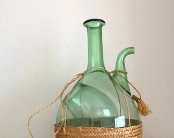 Vintage hand-blown Italy green glass wine bottle decanter with ice chamber straw stopper