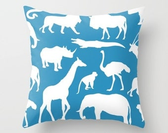 Safari Animals Pillow Cover - African Animals Pillow Cover - Safari Decor - Blue Pillow Cover - Boy Bedroom Decor - Accent Pillow