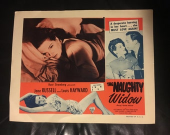 Original 1952 The Naughty Widow AKA Young Widow Lobby Card Movie Poster Jane Russell