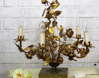 Hollywood Regency Table Lamp Roses Leafs Gold Gilt Metal Tole Italian 5 lights