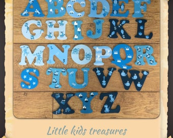 8cm Wooden painted alphabet letters blues/ boys individually hand painted childrens projects.  Little kids treasures