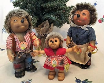 Vintage Steiff Hedgehogs From Germany - Hedgehog Family