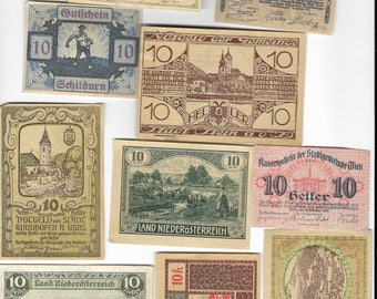 10 Different Old Austrian Banknotes Dating To The 1920 period. (Notgeld). Superb Condition. Lot No 2
