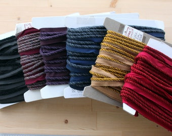D'Kei 3/16 braided cording with lip - 6 colors available - 100% Viscose