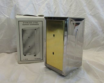 Napkin Dispenser, Stainless Steel, Diner or Restaurant Style, Taiwan, Original Box