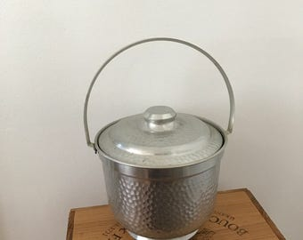 Vintage Hammered Pewter Ice Bucket