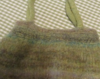 Vintage Felted Wool Purse Shades of Green, Gray, and Turquoise