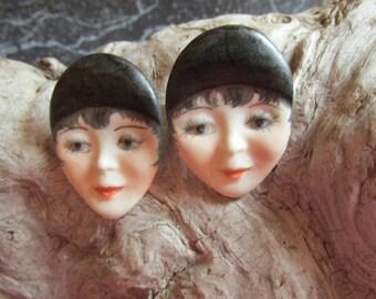 Handpainted Flapper Girl Earrings  Pierced Earrings Fashion Accent