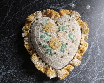 Handmade Crocheted Vintage Heart Pincushion Pin Cushion Floral Design and Beaded