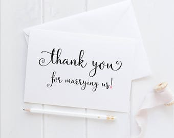 Thank You For Marrying Us Card.  Pastor Wedding Card. Wedding Card For Minister. Officiant Card. Wedding Day Cards. Wedding Thank You Card.