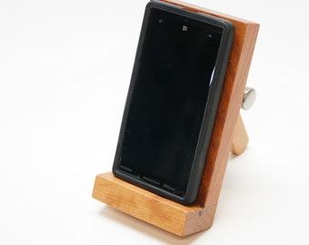 Cell Phone, Smartphone stand, adjustable, hand made of solid Cherry with Character