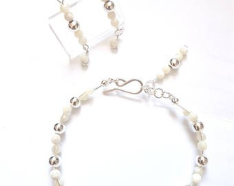 Mother of pearl bracelet and earrings jewellery set handmade silver plated